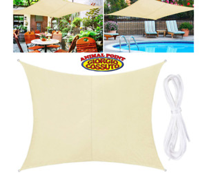 Tenda a vela quadrata ombreggiante mt 3, 4 o 5 mt telo ombra giardino parasole