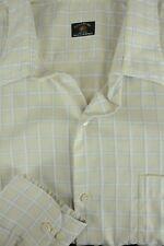 Maus & Hoffman Men's Ivory White & Blue Grid Cotton Casual Shirt XL XLarge
