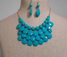 Teardrop 3 Layer Necklace & earring TURQUOISE receive 3-5 days FREE Shipping USA