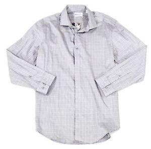 Calvin Klein Mens Dress Shirt Gray Size 16 1/2 Slim Fit Stretch Plaid $75 073