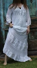 Wedding Skirt Crochet Cotton Lace Peasant Boho White Lined Long Length M  NWT