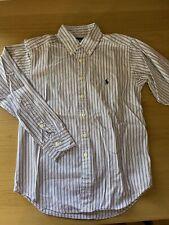 GENUINE Ralph Lauren Boys Shirt Age 8/10 Striped Blue Red