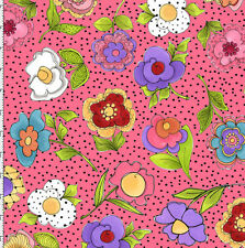 Loralie Fabric Big Blossoms Pink flowers dot red blue cotton sew craft quilt BTY