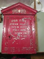 c1930s Gamewell Fire Alarm Call Box Newton MA Cast Aluminum Old Red Paint