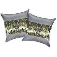 Pewter Playful Elephant Pair Silk Throw Pillow Cushion Cover Set