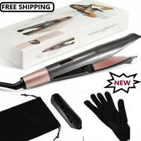 Professional Hair Straightener curler Iron Tourmaline Ceramic Wet /Dry 2 in 1 Fl