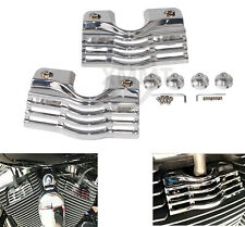 CHROME FINNED SLOTTED HEAD BOLT SPARK PLUG COVERS KIT FOR HARLEY TOURING 99-14