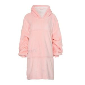 Premium Quality Oversized Hoodie Blanket for Adults & Kids in Pink and Moon Grey