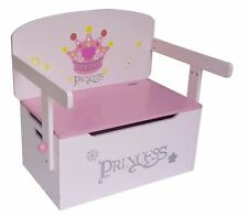 Kiddi Style Childrens Girls Princess Wood 3in1 Toy Box Chest Storage Chair Seat
