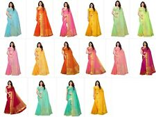 Women's Cotton Silk Gold stripes Kota Doria Saree Party Wear Saree Sari Blouse
