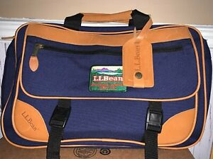 Unused Vintage LL Bean Messenger Bag Blue Canvas Tan Leather Laptop Bag Carry On