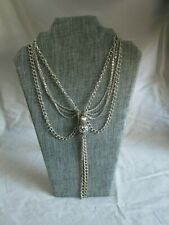 Multi-chain dangle tassel silver tone necklace