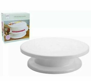 """27cm 11"""" Large New Rotating Cake Turntable Stand Decorating Icing Now All White"""