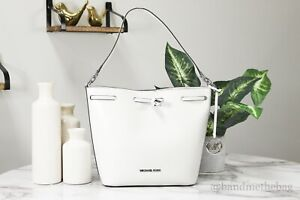 Michael Kors Eden Leather Optic White Medium Bucket Shoulder Bag Handbag Purse