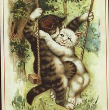 Mint.Reproduction Of Scarce Nister;Cats In Swing,Valentine'S Day ,Greeting Card