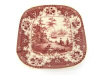 Small Square PLATE Red Ironstone Scenery with Cottage and Floral Rim 2 People