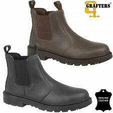 MENS LADIES LEATHER SAFETY WORK BOOTS CHELSEA DEALER STEEL TOE CAP HIKER SIZE