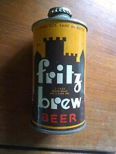 Vintage Fritz Brew Low Profile - Cone Top Beer Can With Original Cap 1934