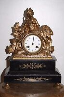 pendule horloge statue régule marbre napoléon III