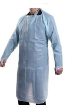 15 x DISPOSABLE BLUE GOWN APRON UNISEX OPEN BACK LONG SLEEVE TIE BACK UK NEW
