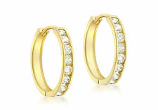 9ct Yellow Gold 17mm Single Row CZ Huggy Earrings Solid Gold Box Gift Jewellery