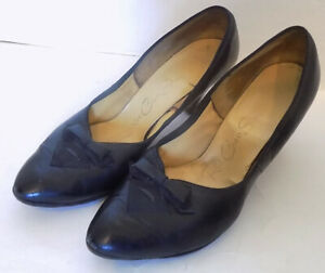 Vintage 50s 60s Black Leather High Heel Shoes Red Cross Size 7