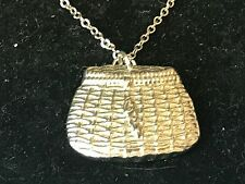 "Fishing Basket TG22 Pewter On 16"" Silver Plated Curb Necklace"