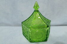 Vintage Indiana Glass Hexagonal Shaped Candy Dish Patriotic Eagles Stars Green