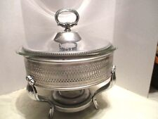 Silver Plate Round 3 Footed Reticulated Casserole Dish Holder With Pyrex Dish