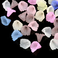 1800pcs /Bag Mix Different Acrylic Frosted Trumpet Flower Beads Gift Craft Bead