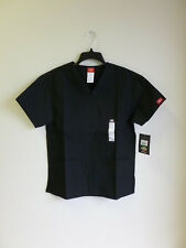 Dickies Scrub TopV Neck Womans Eds 2 Front Patch Pockets Black # 810506 Xs-2Xl