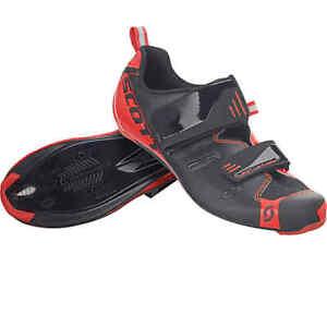 Scott Road Tri Pro Mens Triathlon Bike Shoes Black & Neon Red Eu 40 or US 7