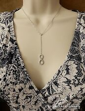 Cubic Zirconia Infinity Pendant Channel Link Y Lariat Silver Plated Necklace