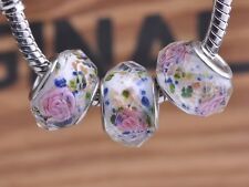 10pcs 15x9mm Lampwork Glass Faceted Flower European Charms Big Hole Beads