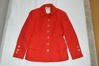 Valentino Boutique Red Button Up Detail Wool Jacket Blazer Coat Womens UK10 IT42
