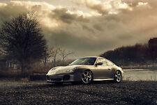 Incorniciato stampa-PORSCHE 911 SUPERCAR EFFETTO VINTAGE (foto poster arte auto)