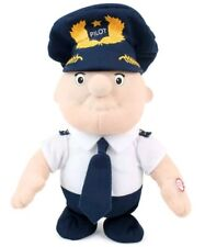 """Daron Walking Pilot Doll Toy 9"""" Electric Moving Plush Airline Uniform Gift"""