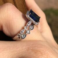 1.3ct Emerald Cut Blue Sapphire Bridal Set Engagement Ring 14k White Gold Finish