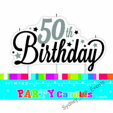 50TH BIRTHDAY CANDLE STARS BLACK SILVER LARGE CAKE TOPPER DECOR PARTY SUPPLIES