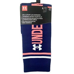 Under Armour Girls 2 Pk Blue Grey Knit Dance Athletic Sport UA Leg Warmers OS