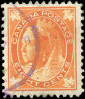 Used Canada 1899 8c F+ Scott #72 Queen Victoria Leaf Issue Stamp