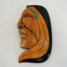 "Artie George Warrior Wood Carving Side Profile Coast Salish Canada 7.5"" x 4"""