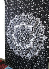 Twin Indian Mandala Black Silver Tapestry Urban Wall Hanging Bohemian Decorative