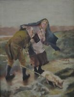 "A. Gale 19th/20th Century ""Figures in a Windy Landscape with Pig"" Oil on Canvas"