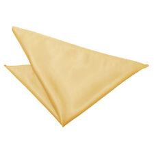 DQT Satin Plain Solid Pale Yellow Formal Handkerchief Hanky Pocket Square