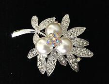 Wedding/Bridal Stylish Brooch Pin Leaf Clear Rhinestone Crystal Imitation Pearl