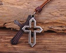 N156 Cool Double Cross Men's Surfer Beach Leather Choker Necklace Adjustable