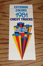 1981 Chevrolet Truck Exterior Colors Sales Brochure 81 Chevy Pickup El Camino