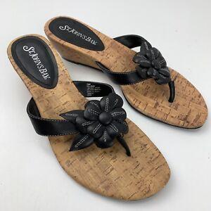 St John Bay Wedge Sandals Thong Floral Women's Size 7.5 M Black