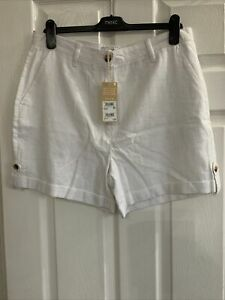 😎 Next Ladies White Linen Shorts. Size 14 BNWT